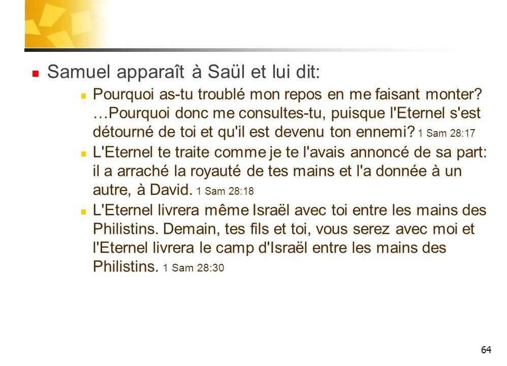 Samuel apparaît à Saül et lui dit: Pourquoi as-tu troublé mon repos en me faisant monter.