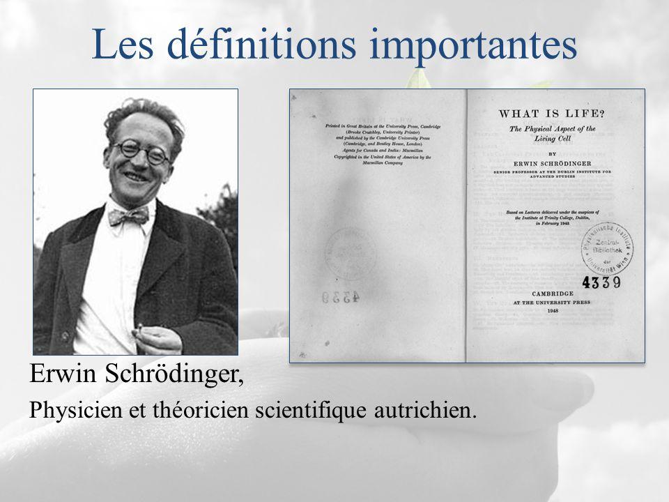 Les définitions importantes Erwin Schrödinger, Physicien et théoricien scientifique autrichien.