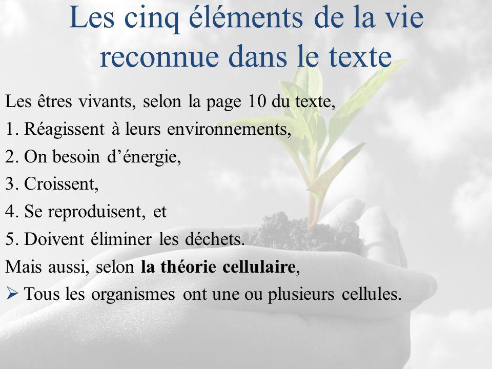 Les cinq éléments de la vie reconnue dans le texte Les êtres vivants, selon la page 10 du texte, 1. Réagissent à leurs environnements, 2. On besoin d'