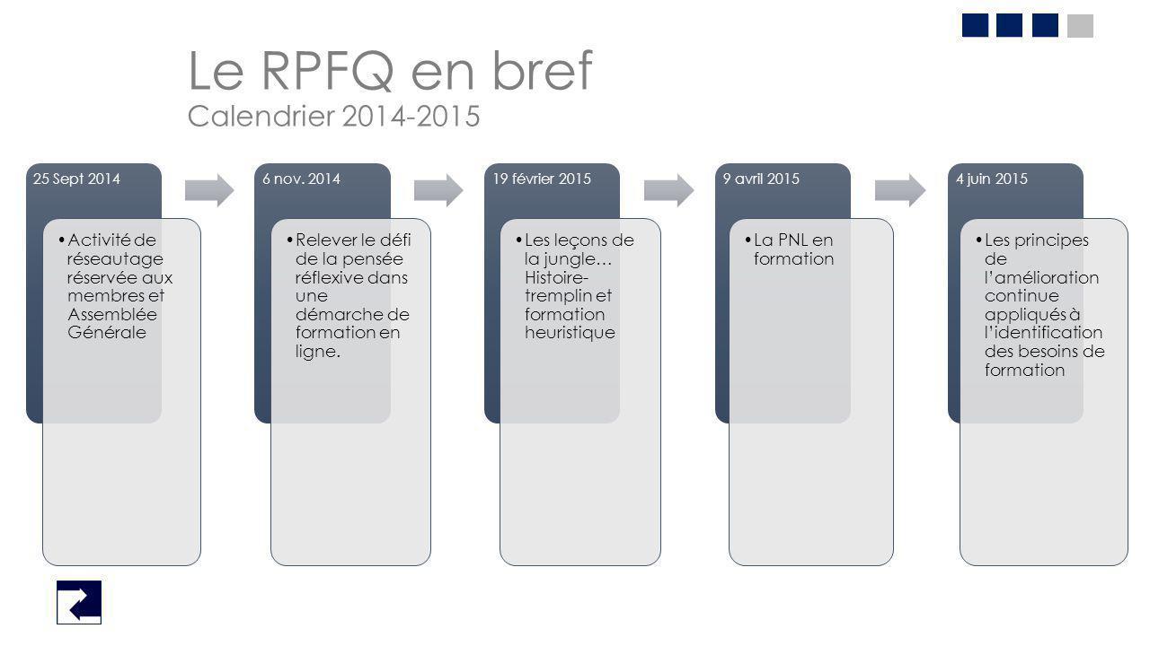 Le RPFQ en bref Calendrier 2014-2015 25 Sept 2014 Activité de réseautage réservée aux membres et Assemblée Générale 6 nov. 2014 Relever le défi de la