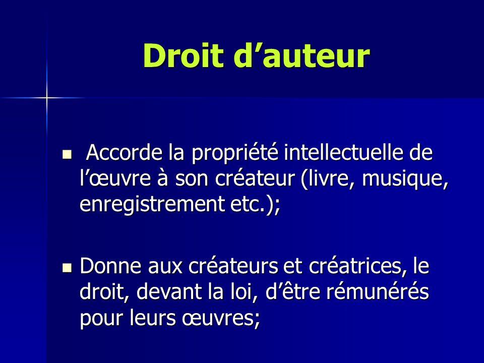 Droit d'auteur Accorde la propriété intellectuelle de l'œuvre à son créateur (livre, musique, enregistrement etc.); Accorde la propriété intellectuell