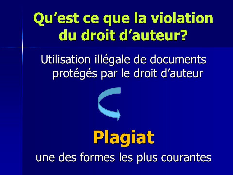 Qu'est ce que la violation du droit d'auteur? Utilisation illégale de documents protégés par le droit d'auteur Plagiat une des formes les plus courant