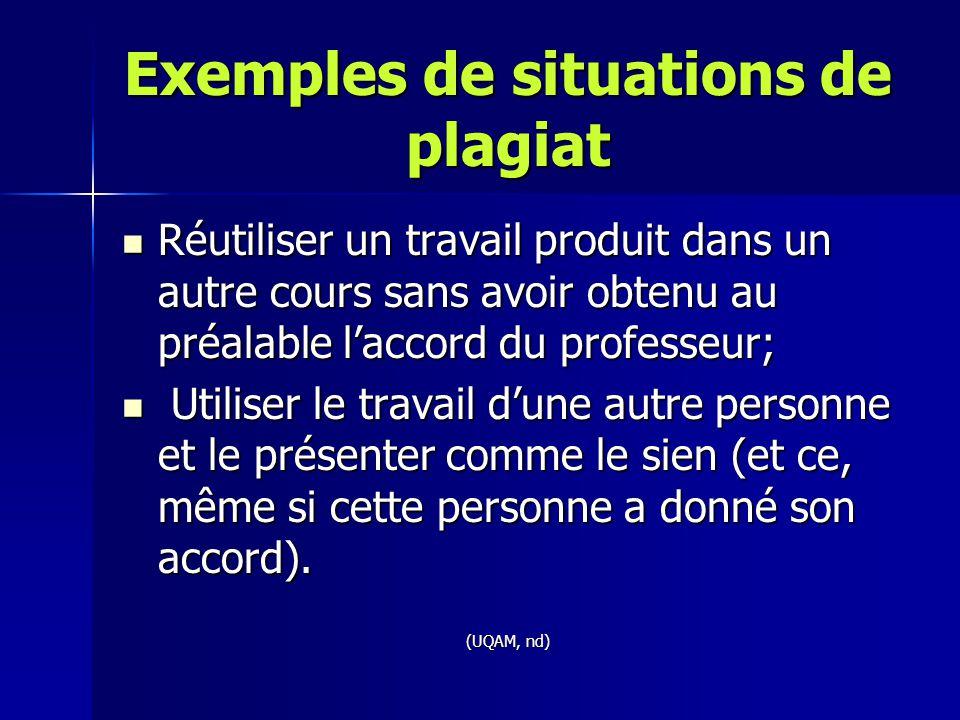Exemples de situations de plagiat Réutiliser un travail produit dans un autre cours sans avoir obtenu au préalable l'accord du professeur; Réutiliser