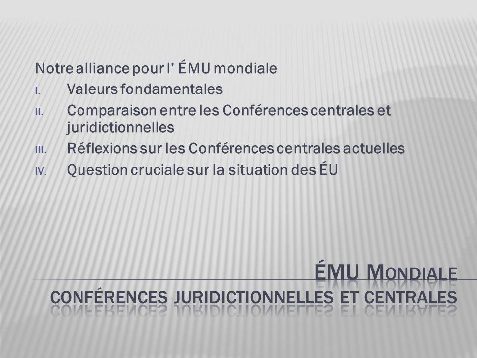 Notre alliance pour l' ÉMU mondiale I. Valeurs fondamentales II. Comparaison entre les Conférences centrales et juridictionnelles III. Réflexions sur