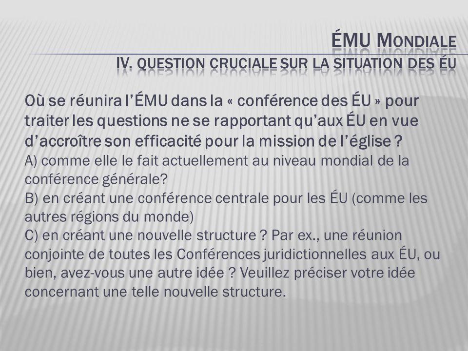 Où se réunira l'ÉMU dans la « conférence des ÉU » pour traiter les questions ne se rapportant qu'aux ÉU en vue d'accroître son efficacité pour la miss