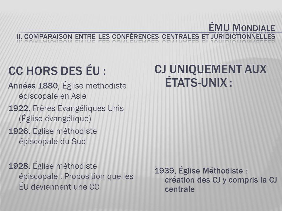 1968, Église Méthodiste Unie: -Dissolution de la Juridiction centrale -Autres Juridictions aux ÉU demeurent -Hors des ÉU : Conférences centrales demeurent -Surintendance générale unifiée (les évêques sont tous égaux) -Jusqu'en 1984: GBGM est la seule agence ayant le mandat d'œuvrer hors des ÉU – aucune autre agence