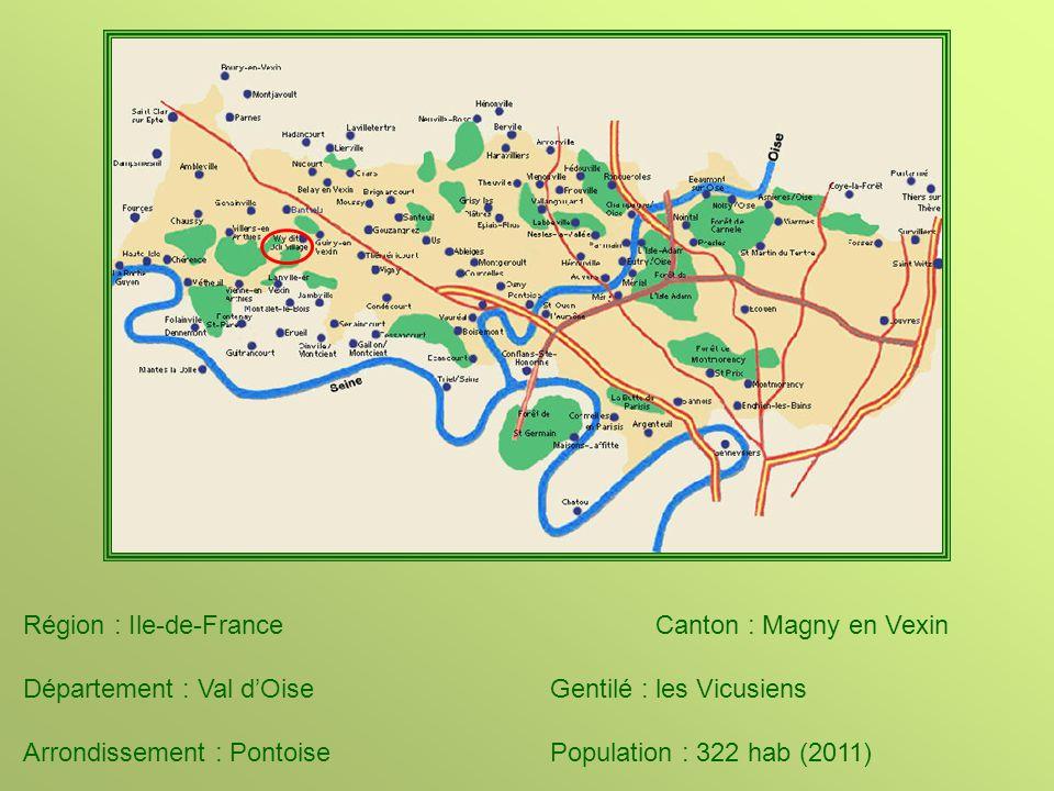 Région : Ile-de-FranceCanton : Magny en Vexin Département : Val d'OiseGentilé : les Vicusiens Arrondissement : PontoisePopulation : 322 hab (2011)