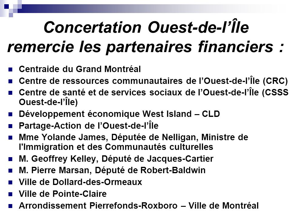 WI CONCERTATION ODI PORTRAIT POPULATIONNEL Maison Simon -Fraser LE MOULIN de Pointe-Claire