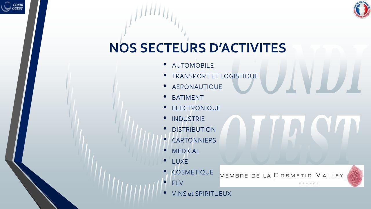 NOS SECTEURS D'ACTIVITES AUTOMOBILE TRANSPORT ET LOGISTIQUE AERONAUTIQUE BATIMENT ELECTRONIQUE INDUSTRIE DISTRIBUTION CARTONNIERS MEDICAL LUXE COSMETI