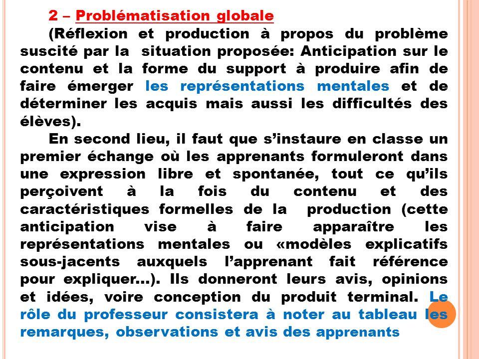 2 – Problématisation globale (Réflexion et production à propos du problème suscité par la situation proposée: Anticipation sur le contenu et la forme