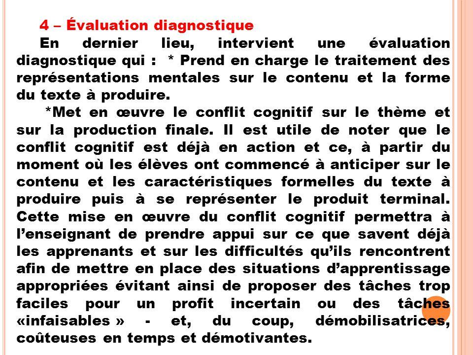 4 – Évaluation diagnostique En dernier lieu, intervient une évaluation diagnostique qui : * Prend en charge le traitement des représentations mentales