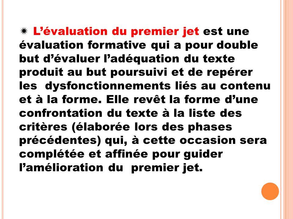  L'évaluation du premier jet est une évaluation formative qui a pour double but d'évaluer l'adéquation du texte produit au but poursuivi et de repére