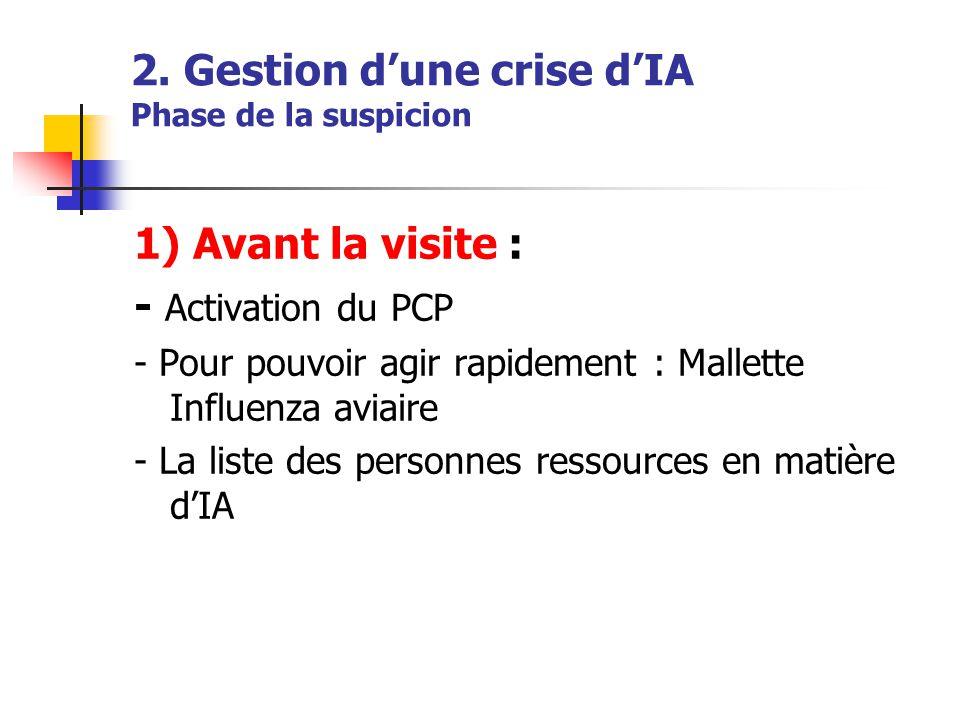 2. Gestion d'une crise d'IA Phase de la suspicion 1) Avant la visite : - Activation du PCP - Pour pouvoir agir rapidement : Mallette Influenza aviaire
