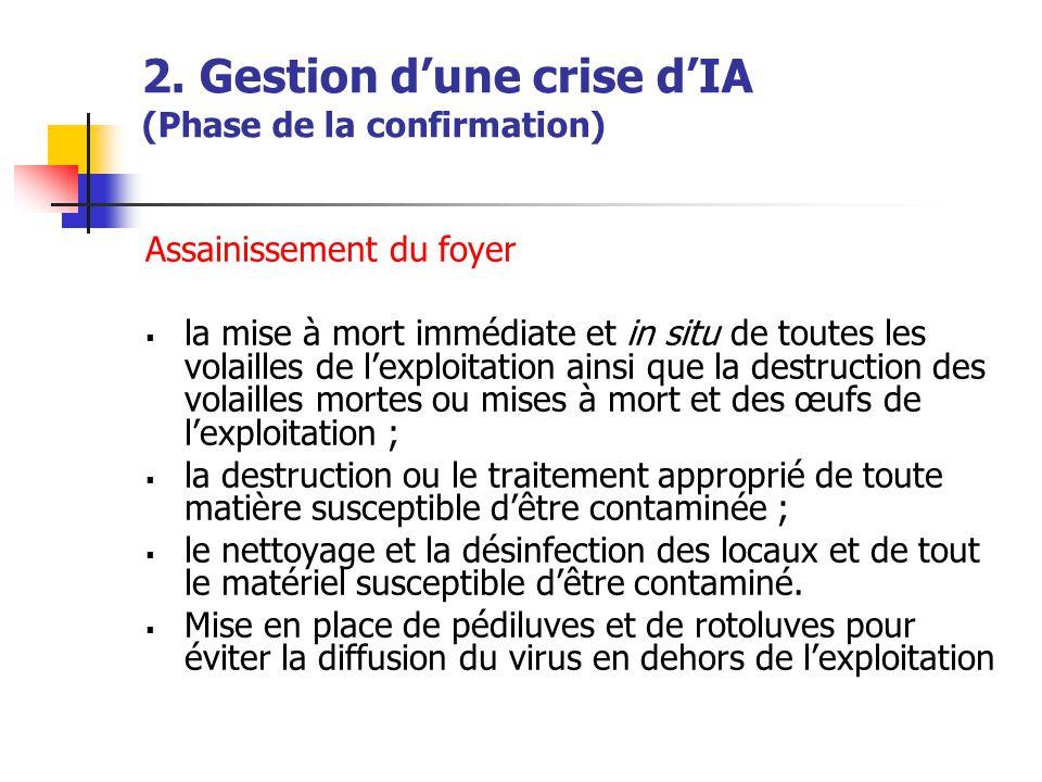 2. Gestion d'une crise d'IA (Phase de la confirmation) Assainissement du foyer  la mise à mort immédiate et in situ de toutes les volailles de l'expl