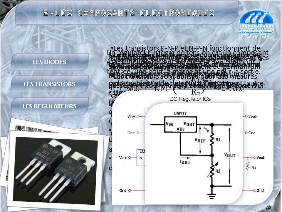 LES DIODES LES TRANSISTORS LES REGULATEURS La diode, une composant électronique autorisant le passage d'un courant électrique dans un seul sens.