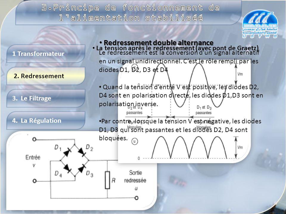 4. La Régulation 2. Redressement 3. Le Filtrage 1 Transformateur Un transformateur est un appareil statique à induction qui remplit deux fonctions : i