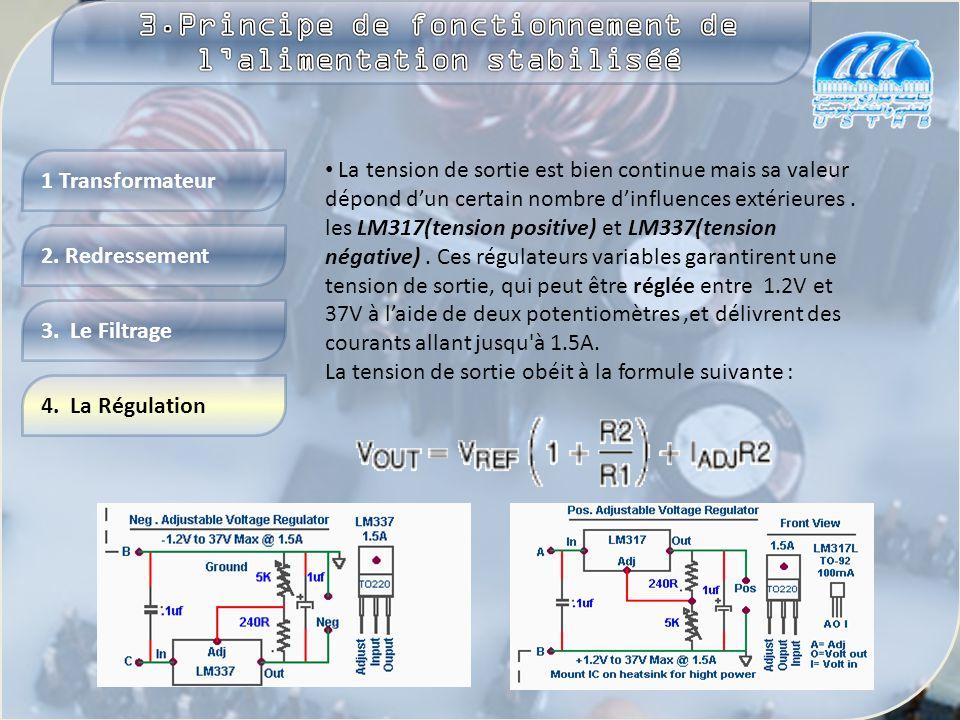 4. La Régulation 2. Redressement 1 Transformateur 3. Le Filtrage L'objectif est l' élimination des ondulations. C'est le rôle du condensateur de filtr