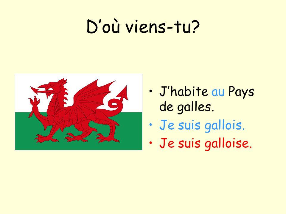 D'où viens-tu? J'habite au Pays de galles. Je suis gallois. Je suis galloise.
