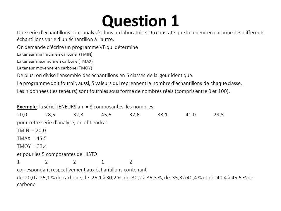 Question 1 Une série d'échantillons sont analysés dans un laboratoire. On constate que la teneur en carbone des différents échantillons varie d'un éch
