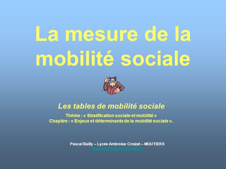 La mesure de la mobilité sociale Pascal Bailly – Lycée Ambroise Croizat – MOUTIERS Pascal.Bailly@ac-grenoble.fr Les tables de mobilité sociale Thème :