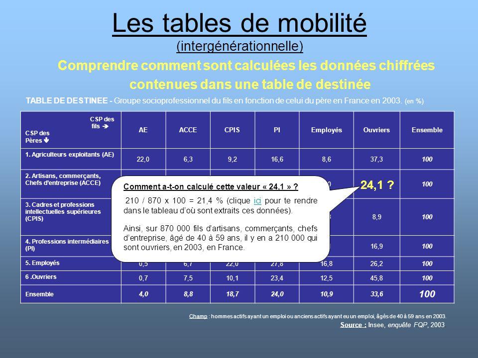 Les tables de mobilité (intergénérationnelle) Comprendre comment sont calculées les données chiffrées contenues dans une table de destinée TABLE DE DE