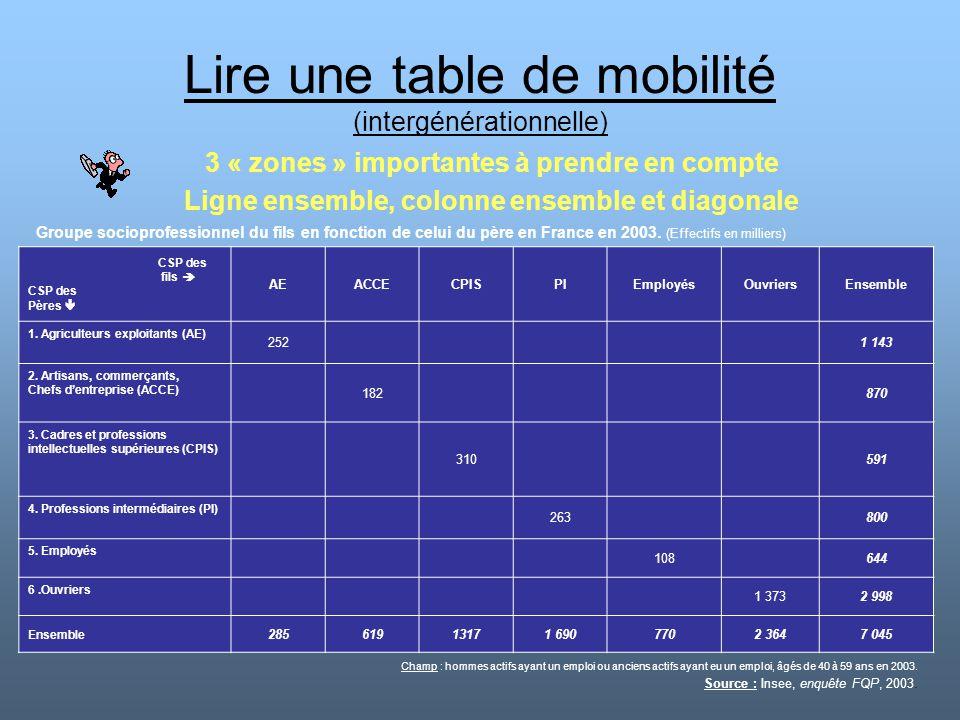 Lire une table de mobilité (intergénérationnelle) 3 « zones » importantes à prendre en compte Ligne ensemble, colonne ensemble et diagonale CSP des fi