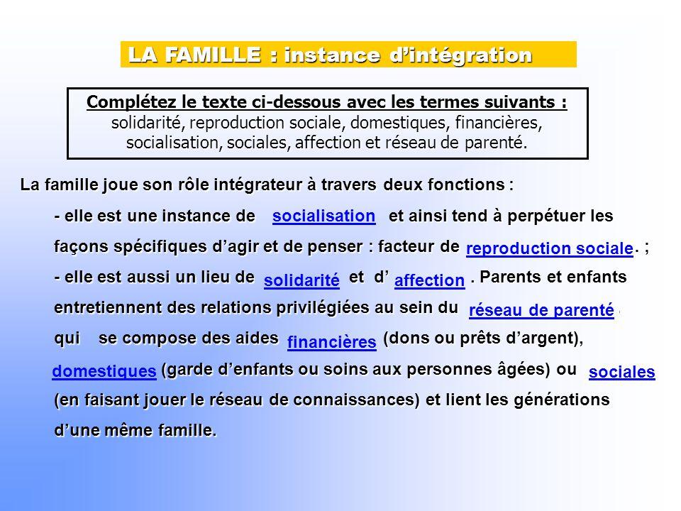Complétez le texte ci-dessous avec les termes suivants : solidarité, reproduction sociale, domestiques, financières, socialisation, sociales, affection et réseau de parenté.