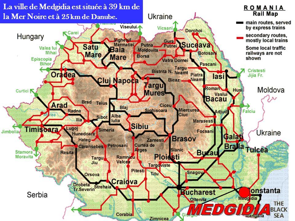 La ville de Medgidia est située à 39 km de la Mer Noire et à 25 km de Danube.