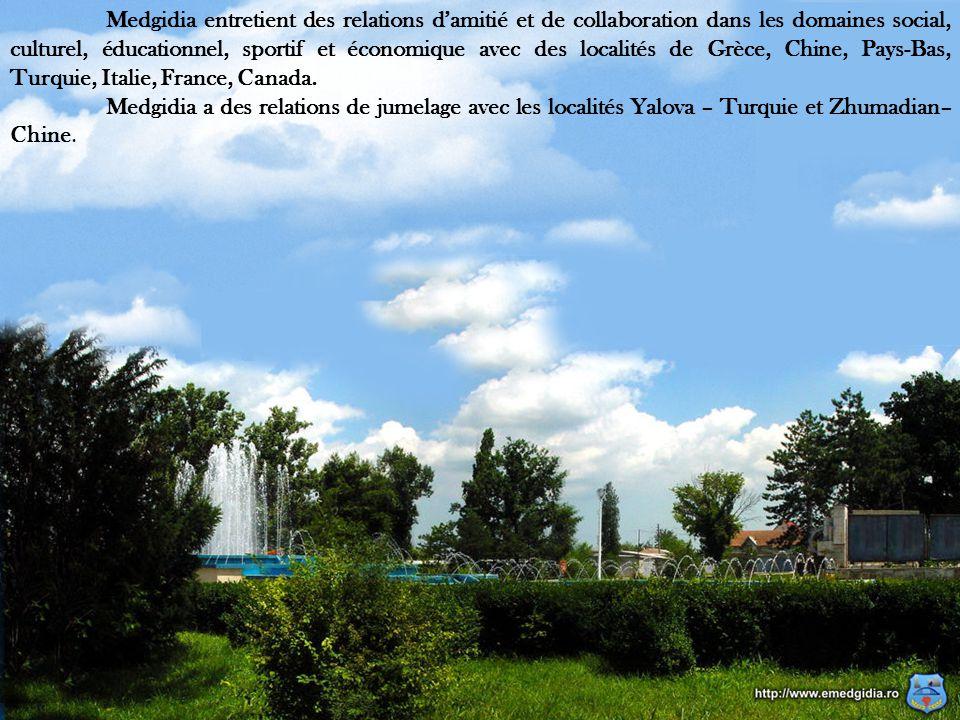 11 Medgidia entretient des relations d'amitié et de collaboration dans les domaines social, culturel, éducationnel, sportif et économique avec des localités de Grèce, Chine, Pays-Bas, Turquie, Italie, France, Canada.