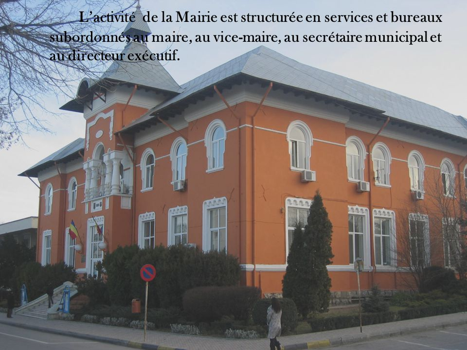 L'activité de la Mairie est structurée en services et bureaux subordonnés au maire, au vice-maire, au secrétaire municipal et au directeur exécutif.