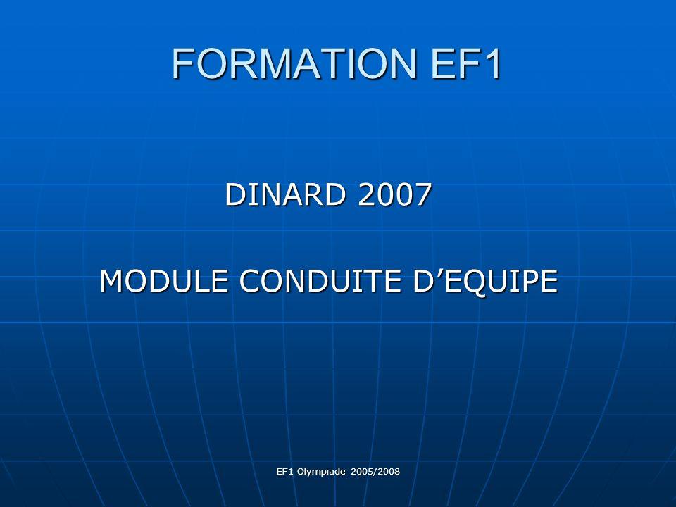 EF1 Olympiade 2005/2008 FORMATION EF1 DINARD 2007 MODULE CONDUITE D'EQUIPE