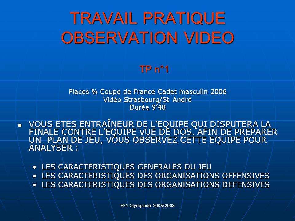 EF1 Olympiade 2005/2008 TRAVAIL PRATIQUE OBSERVATION VIDEO 2 1 6 5 43