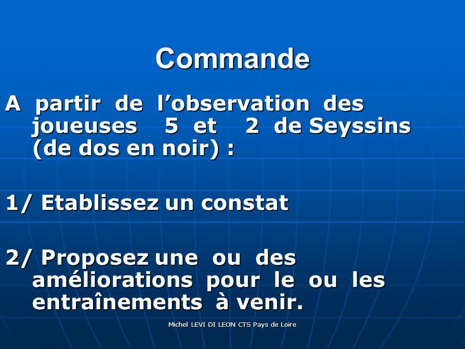 Michel LEVI DI LEON CTS Pays de Loire Commande A partir de l'observation des joueuses 5 et 2 de Seyssins (de dos en noir) : 1/ Etablissez un constat 2