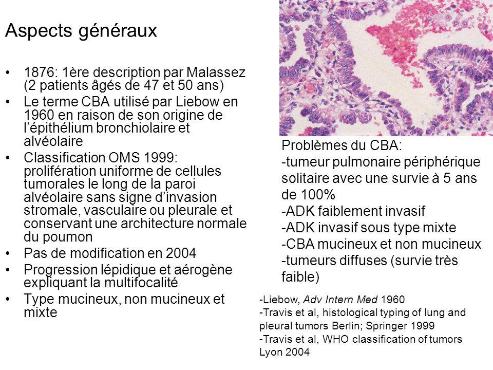 Aspects généraux 1876: 1ère description par Malassez (2 patients âgés de 47 et 50 ans) Le terme CBA utilisé par Liebow en 1960 en raison de son origin
