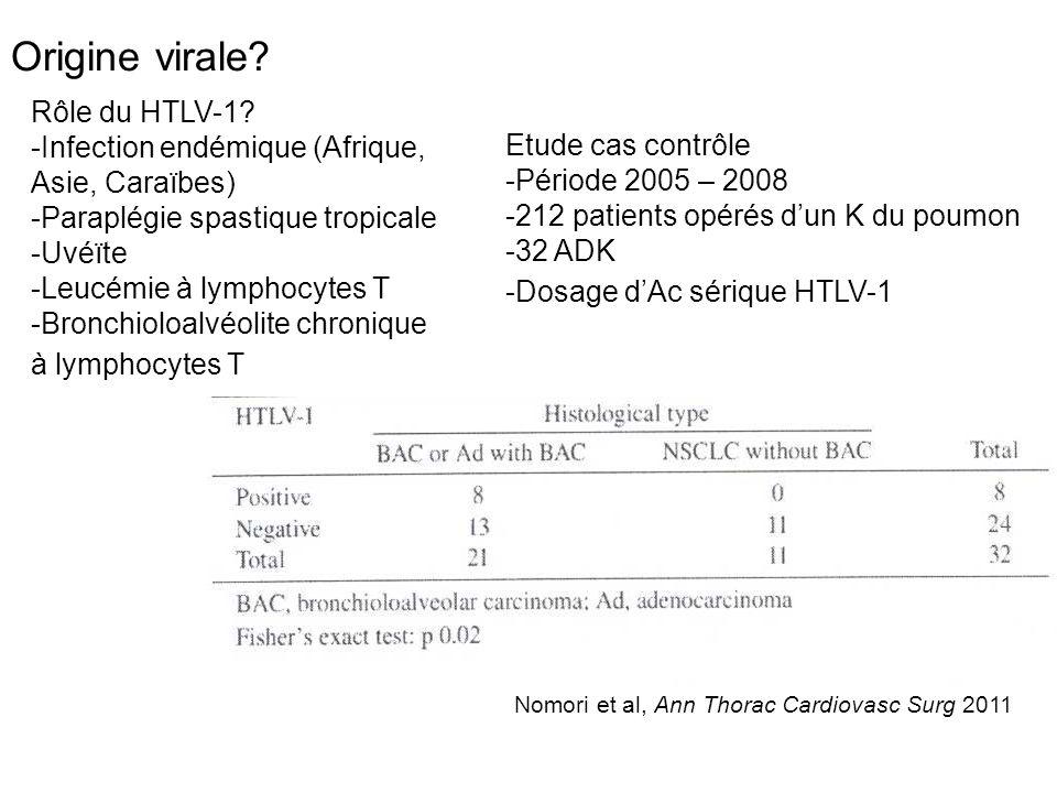 Origine virale? Rôle du HTLV-1? -Infection endémique (Afrique, Asie, Caraïbes) -Paraplégie spastique tropicale -Uvéïte -Leucémie à lymphocytes T -Bron