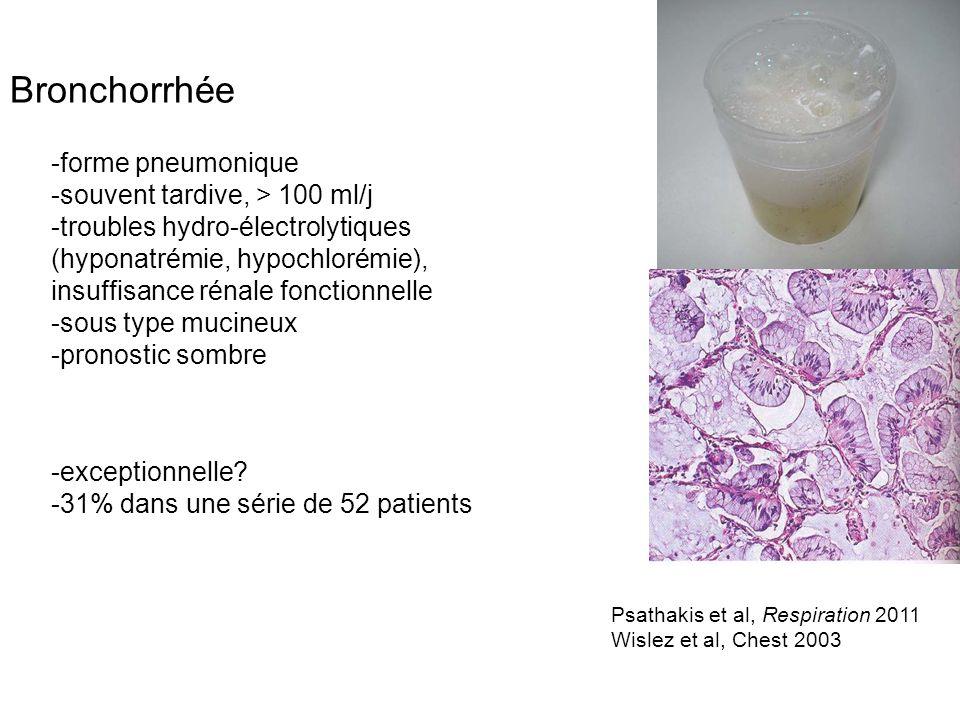 Bronchorrhée -forme pneumonique -souvent tardive, > 100 ml/j -troubles hydro-électrolytiques (hyponatrémie, hypochlorémie), insuffisance rénale foncti
