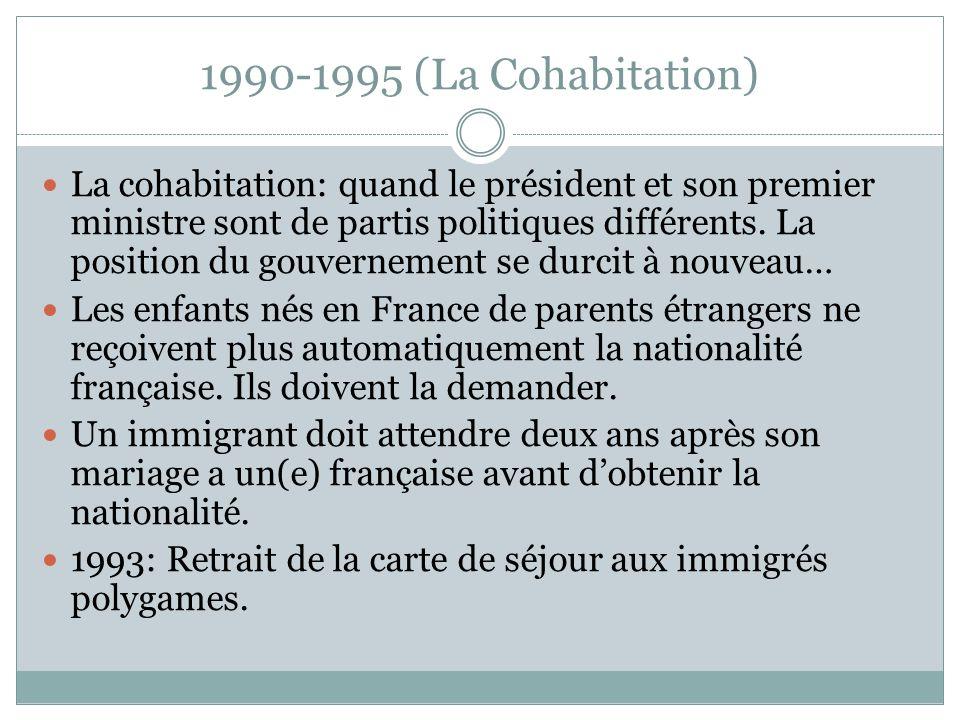 1990-1995 (La Cohabitation) La cohabitation: quand le président et son premier ministre sont de partis politiques différents. La position du gouvernem