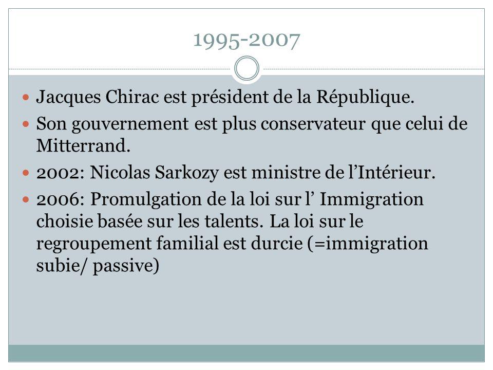 1995-2007 Jacques Chirac est président de la République. Son gouvernement est plus conservateur que celui de Mitterrand. 2002: Nicolas Sarkozy est min