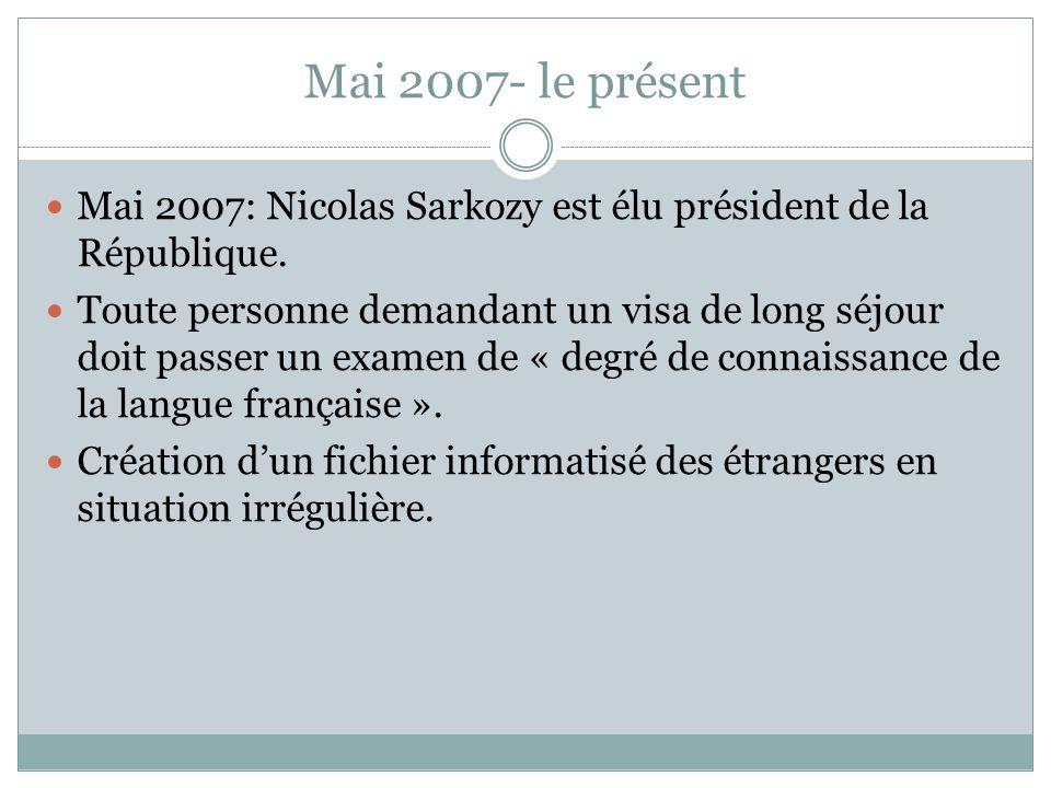 Mai 2007- le présent Mai 2007: Nicolas Sarkozy est élu président de la République. Toute personne demandant un visa de long séjour doit passer un exam