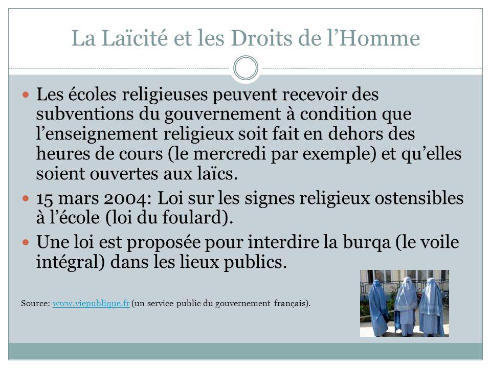 La Laïcité et les Droits de l'Homme Les écoles religieuses peuvent recevoir des subventions du gouvernement à condition que l'enseignement religieux s