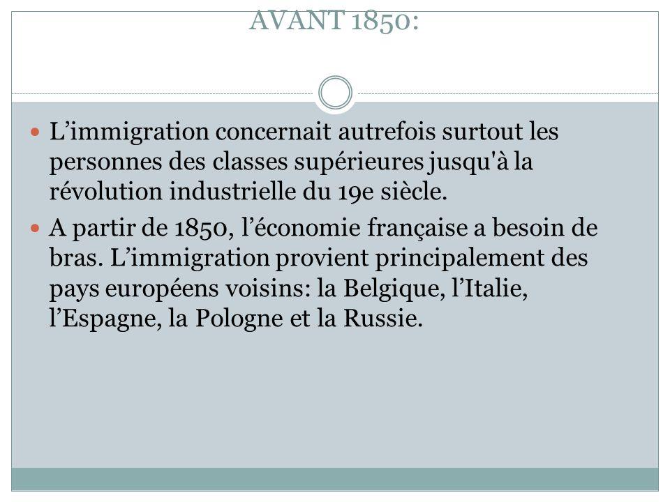 LA CHRONOLOGIE DE L'IMMIGRATION AVANT 1850: L'immigration concernait autrefois surtout les personnes des classes supérieures jusqu'à la révolution ind