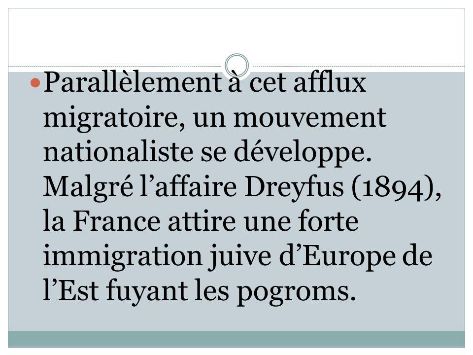Parallèlement à cet afflux migratoire, un mouvement nationaliste se développe. Malgré l'affaire Dreyfus (1894), la France attire une forte immigration