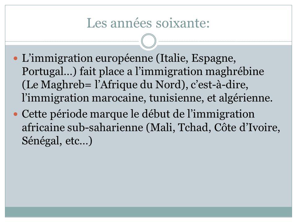 Les années soixante: L'immigration européenne (Italie, Espagne, Portugal…) fait place a l'immigration maghrébine (Le Maghreb= l'Afrique du Nord), c'es