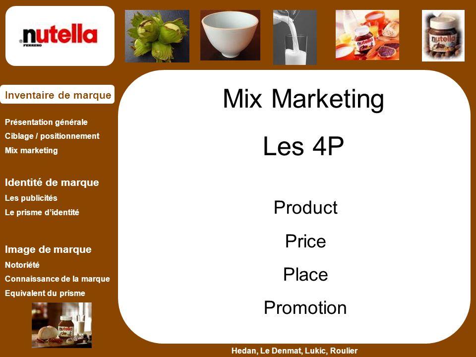 Présentation générale Ciblage / positionnement Mix marketing Identité de marque Les publicités Le prisme d'identité Image de marque Notoriété Connaiss