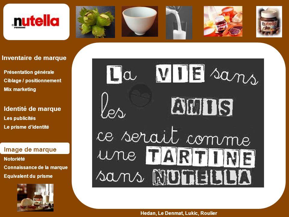 Hedan, Le Denmat, Lukic, Roulier Inventaire de marque Présentation générale Ciblage / positionnement Mix marketing Identité de marque Les publicités L