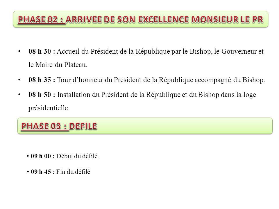 08 h 30 : Accueil du Président de la République par le Bishop, le Gouverneur et le Maire du Plateau. 08 h 35 : Tour d'honneur du Président de la Répub
