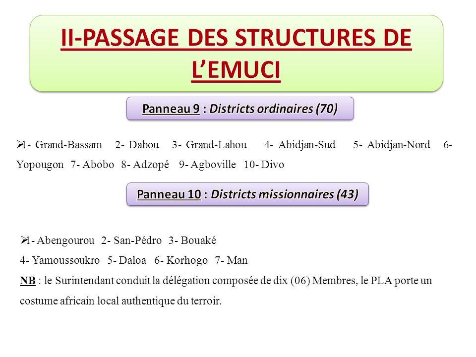  1- Grand-Bassam 2- Dabou 3- Grand-Lahou 4- Abidjan-Sud 5- Abidjan-Nord 6- Yopougon 7- Abobo 8- Adzopé 9- Agboville 10- Divo  1- Abengourou 2- San-P