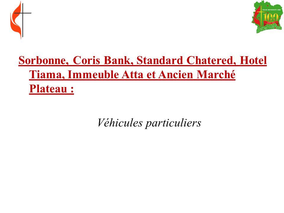 Sorbonne, Coris Bank, Standard Chatered, Hotel Tiama, Immeuble Atta et Ancien Marché Plateau : Véhicules particuliers