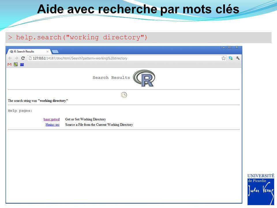 Aide avec recherche par mots clés > help.search(