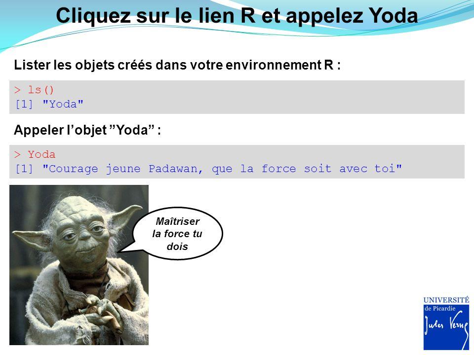 Cliquez sur le lien R et appelez Yoda > ls() [1]